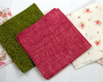 Pink Floral 30 - 4 inch Fabric Quilt  Squares