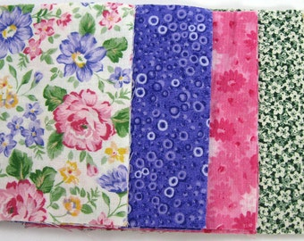 Pink and Purple Floral 30 - 4 inch Fabric Quilt  Squares