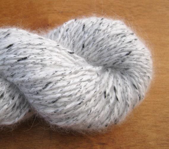 Sport Weight Angora Blend Recycled Yarn, White, 160 Yards