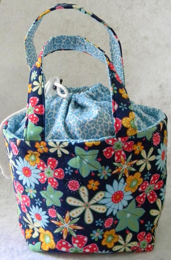 Blue Floral Lunch Bag