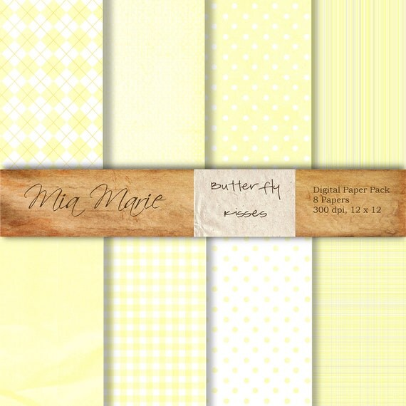 INSTANT DOWNLOAD - Digital Papers Scrapbooking Backgrounds Yellow, Plaid, Baby, Argyle, Dots, Gingham Printable 12x12 jpg