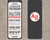 Vintage typography theatre movie invitation with ticket - DIY printable file - invite and RSVP card