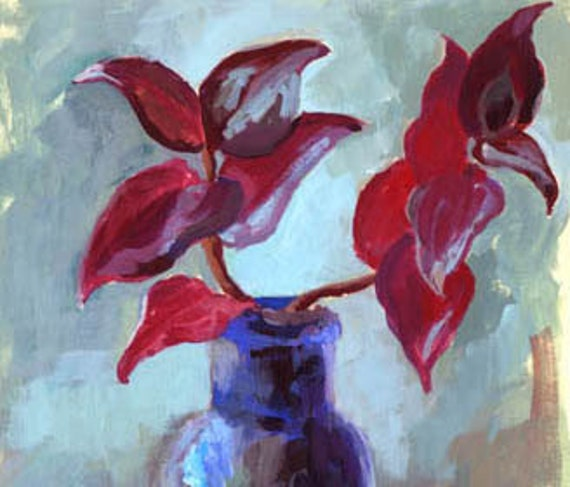 Still Life Gouache Painting - Open Edition Print - Tradescantia Zebrina in Cobalt Blue Glass Bottle