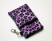 Custom fabric cell phone holder, iPhone 6 6s Plus, iPhone 7 plus, 5 5s 5c 4s 4 smartphone, wallet, case, purse, sleeve, pouch-Purple Cheetah