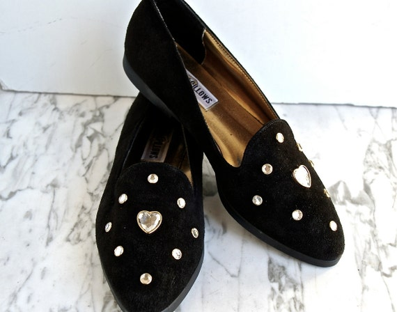 Crystal Hearts Black Suede Flats Loafers // 7