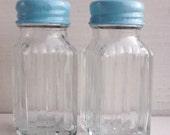 Aqua Salt and Pepper Shakers - Retro Glass Style - Nautical Home Decor - Turquoise Shabby Chic Kitchen Decor - Aqua Blue