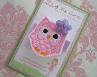 Girl hair clips - girl hair barrettes - owl hair clip - no slip hair clip