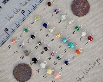 Add a Birthstone Tiny Rondelle Gemstone Sterling Silver or 14k Gold Filled Wire Wrapped Birthstone Gemstone for Necklace, Bracelet, Earring