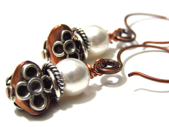 Copper Earrings Pearls Sterling Silver Mixed Metal Jewelry
