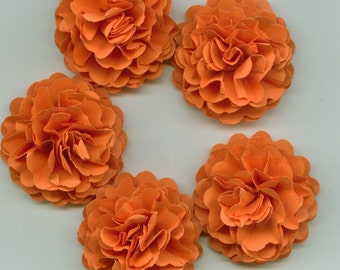 Pumpkin Orange Mini Carnation Paper Flowers Autumn, Fall, Thanksgiving