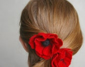 felted flower pin brooch  hair accessory / POPPY / 3 in / Valentine's day gift / made to order