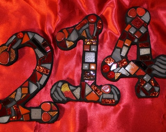 Custom Made Stained Glass Mosaic House Numbers - Your Color Choice  (These are in shades of reds, oranges and greys)