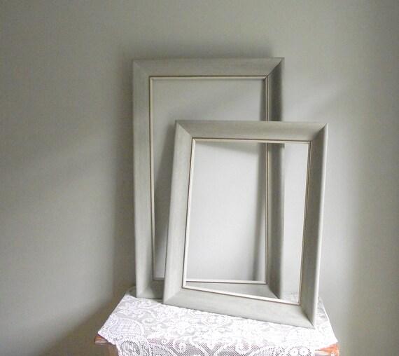 Gray Wood Frames Empty Vintage Weathered Finish Shabby Chic Cottage Decor Set of 2 Matching Grey Frames