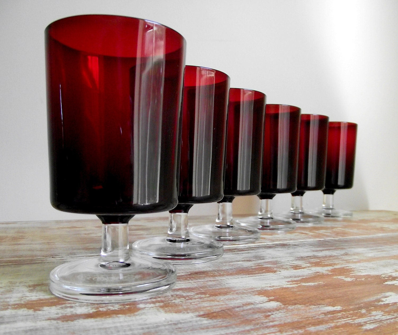 Ruby Wine Glasses Luminarc Cavalier Arcoroc France Red