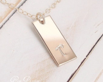 Gold Bar Necklace, 14k Gold Filled, Gold Initial, Personalized, Custom Hand Stamped, Layering, Short Gold Tag, Vertical bar, Monogram, Tag