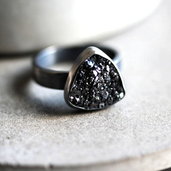 Coal Black Druzy Ring, Midnight Sky Space Black Druzy Stone Oxidized Sterling Silver Ring Cocktail Ring - Satellite