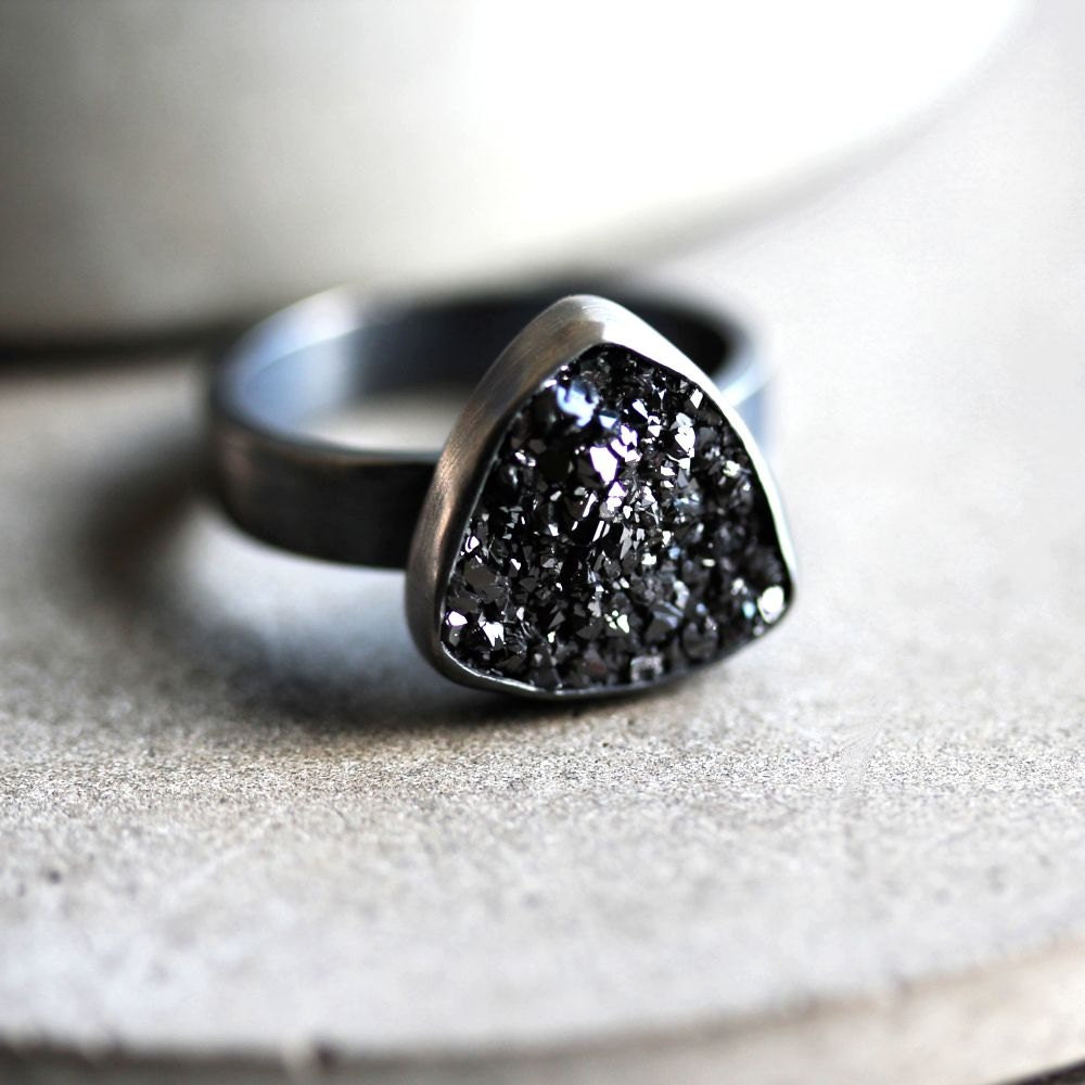 Coal Black Druzy Ring Midnight Sky Space Black Druzy Stone