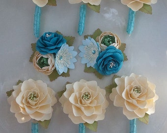 Corsages and Boutonniere Set -  Paper Flowers - Wedding Flowers - Custom Colors - Made To Order