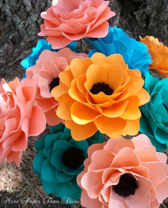 Paper Flowers - Stemmed - Mixed Colors - Made To Order - Wide Variety Of Colors - Set of 24