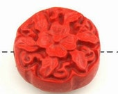 10-REAL Cinnabar Hand Carved Disc Beads-17mm-FREE 100 pearls(4D6)
