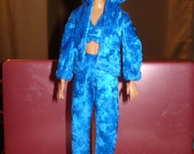 Royal blue Velour jogging suit & top set for Fashion Dolls - ed234