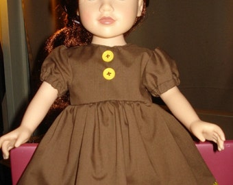 18 inch Doll chocolate brown full dress with yellow trims- ag66