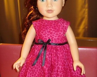 Sleeveless pink Leopard print full dress for 18 inch Dolls - ag75