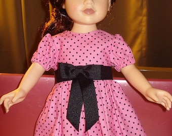 Handmade pink & black polka dot full dress for 18 inch Dolls - ag77