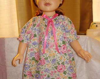 Colorful floral ruffled Peasant nightgown for 18 inch Dolls - ag96