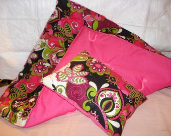 Pink, green and black floral bedding set for 18 inch Dolls - agqs11