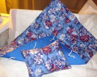 Handmade blue floral quilt and pillow set for 18 inch Dolls - agqs18