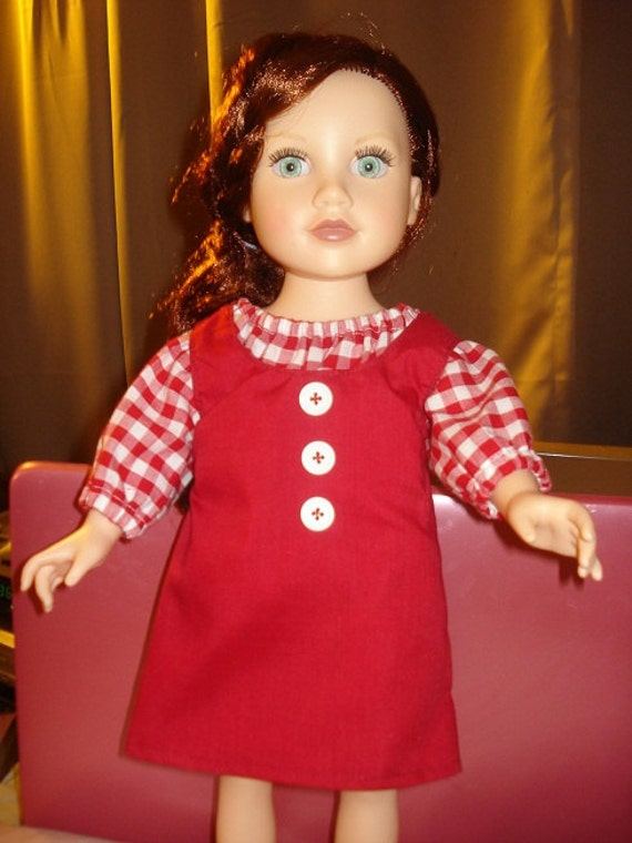 Handmade 18 inch Doll red checked blouse and red jumper set - AG73