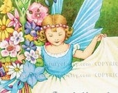 Flower Fairy - Personalized ADHESIVE Bookplate - Lovely Gift - STICKERS - Baby Gift