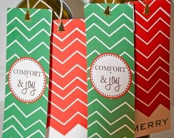 Chevron Christmas Tree Wine Tags
