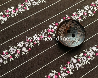 """cotton fabric, pink floral stripes on dark brown cotton fabric, half yard by 56"""" wide"""