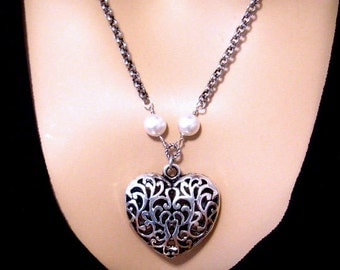 Large Heart Necklace, Victorian Filigree, Antiqued Silver Heart Pendant, Pearl, Long, Romantic Jewelry