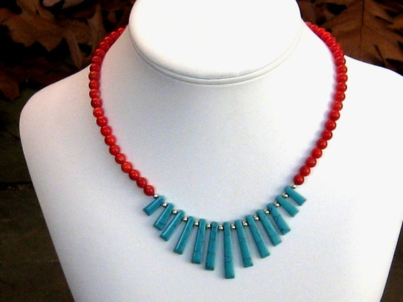 Turquoise and Coral Necklace, Southwest Fan Necklace, Statement Necklace, Bib Necklace, Southwestern Jewelry, Western, Southwest Jewelry