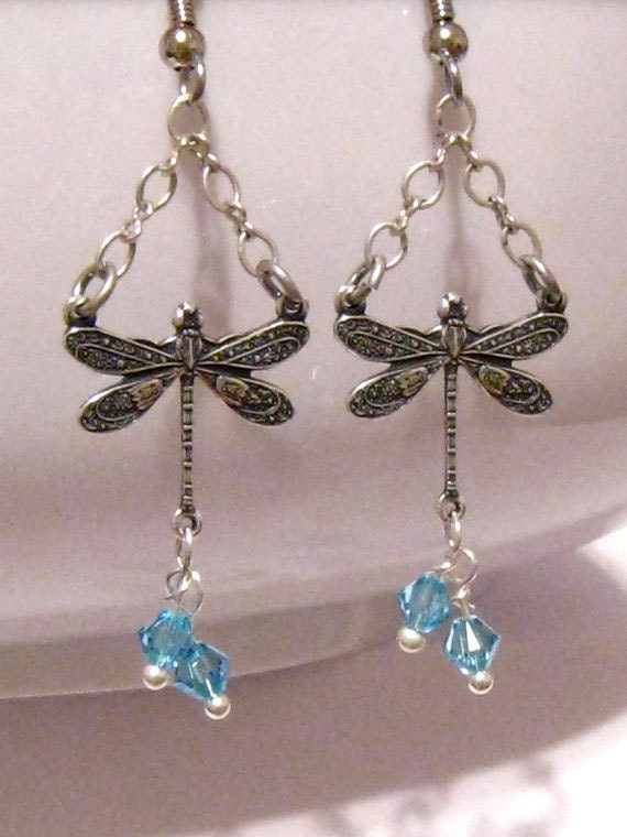 Victorian Dragonfly Earrings, Swarovski Crystal Aqua Blue Bridal Earrings, Dragonfly Wedding Earrings, Victorian Crystal Earrings