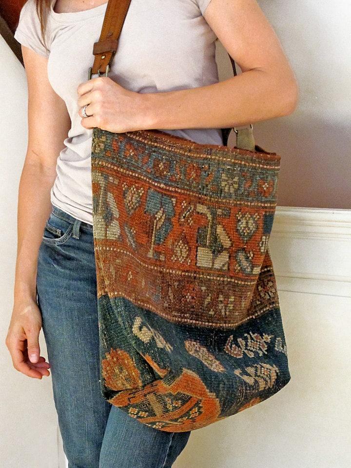 Carpet Bag Antique Kilim Tote Market Or Messenger Bag