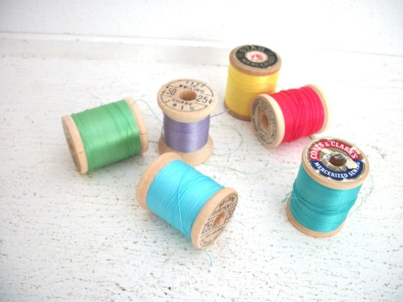 Vintage Wooden Spools of Thread- Neon Brights Collection