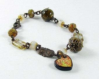 Heart Charm Art Tile Brown White Glass Ceramic Bracelet