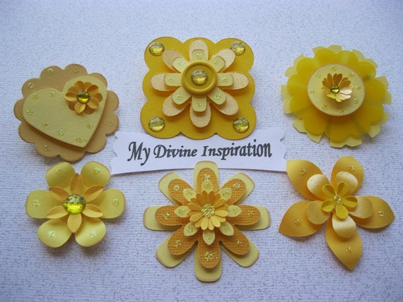 ON Sale Yellow Paper Embellishments and Paper Flowers for Scrapbook Cards Mini Albums and Papercrafts