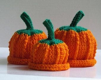 Textured Pumpkin Hat Crochet Pattern with Leaf & Flower PDF 105