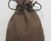 Handmade Aged Brown steampunk leather Drawstring Fairy Dust Necklace Pouch (round bottom, small or med) ready for FREE SHIPPING
