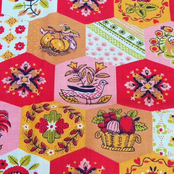 Vintage 60s Fabric Kitchen Curtains Red Pink Orange 1.3 Yards