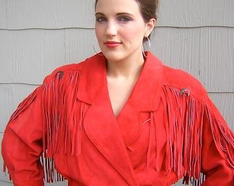 Vintage 1980s red leather / suede fringe jacket
