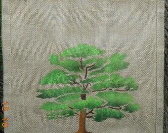 Oak tree jute bag hand painted