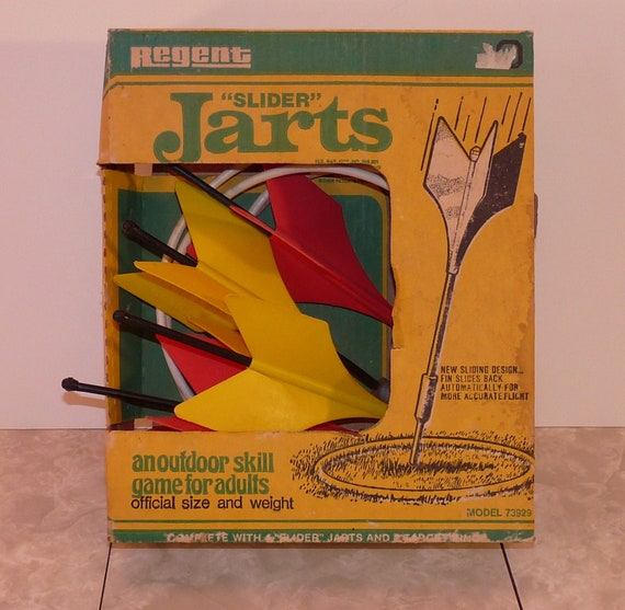 Vintage Regent Slider Jarts Lawn Darts Set In Box