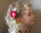 Bright Pink Flower - Hairclip or Headband - Free Shipping