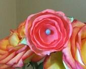 Petite Peach Flower - Hair Clip OR Headband - Free Shipping